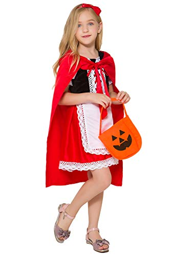 Costumes For Little Red Riding Hood (Soyoekbt Little Red Riding Hood Costume for Girls Kids Halloween Cosplay Costume 4-5 Years -)