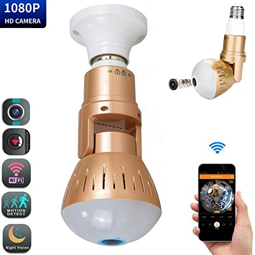 Smart Bulb Camera WiFi LED 1080p Hidden Camera 360 Degree Panoramic Fish Eye HD Cameras with Night Vision Rotation Function Surveillance Motion Detection