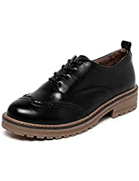 DADAWEN Women's Lace-up British Style Retro Chunky Heel Casual Brogue Shoes