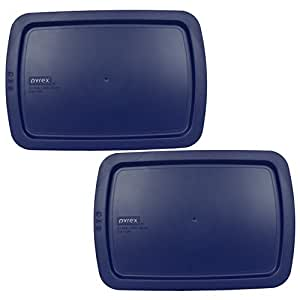 """Pyrex C-233-PC Easy Grab Blue Rectangle Plastic Lid for 9"""" X 13"""" Oblong Baking Dish (2 Pack)"""