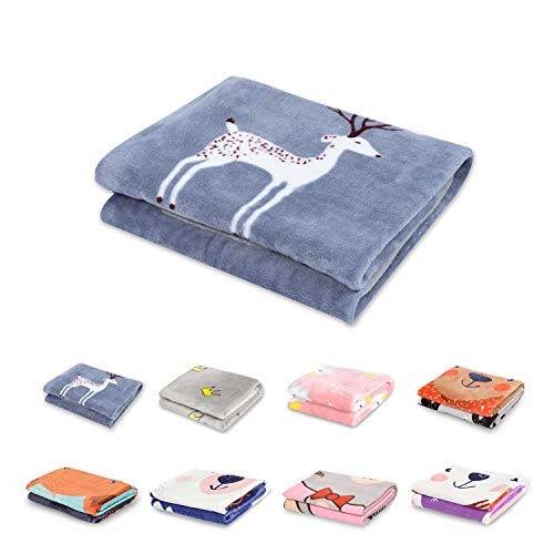TILLYOU Micro-Fleece Plush Fuzzy Baby Blanket Fluffy Warm Super Soft Toddler Bed/Crib Blanket with Navy Deer, Lightweight Summer Daycare Nap Blanket Boys, 100% Microfiber Polyester, 39x47, Small