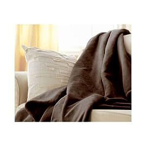 Sunbeam Microplush Throw Camelot Cuddler Electric Heated Warming Blanket, Walnut Brown