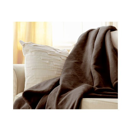 Sunbeam Microplush Throw Camelot Cuddler Electric Heated Warming Blanket, Walnut Brown