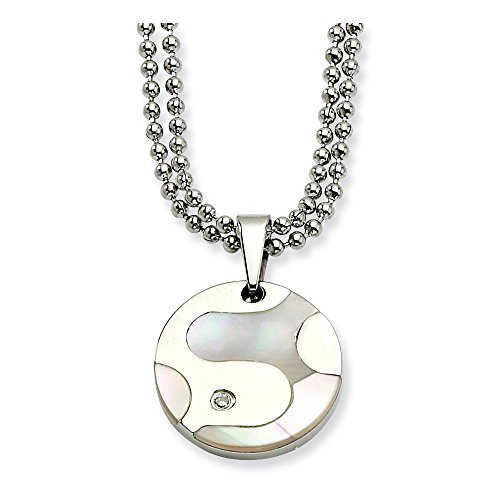 - Chisel Stainless Steel Polished and Mother of Pearl Circle with CZ 22in Necklace One Size
