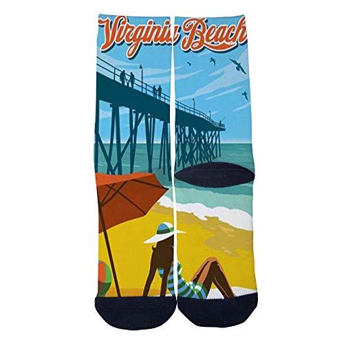 Eletina lee Men S Women S Custom Virginia Beach Travel Poster Socks 3D Print Novel Creative Casual Crew -