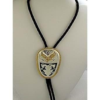 German Silver & Abalone Eagle Bolo Tie at Amazon Men's