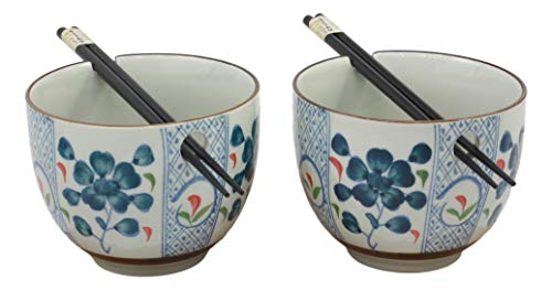 Ebros Japanese Design Ceramic Blue Indigo Blossoms Ramen Udong Noodles Bowl and Chopsticks Set of 2 for Asian Dining Soup Rice Gourmet Meal As Taste of Asia Collection of Bowls Decor Kitchen Decor