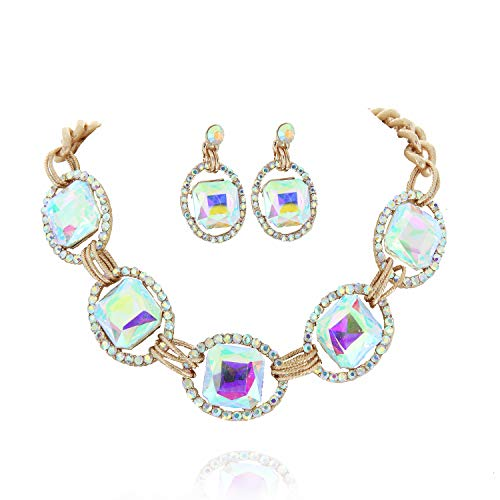 SP Sophia Collection Austrian Crystal Women's Chunky Chain Necklace and Earrings Jewelry Set in Gold Iridescent ()