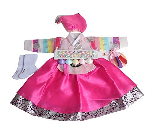 Pink Saekdong Korean Hanbok Girl Baby DOLBOK First Birthday Traditional Costumes Dress
