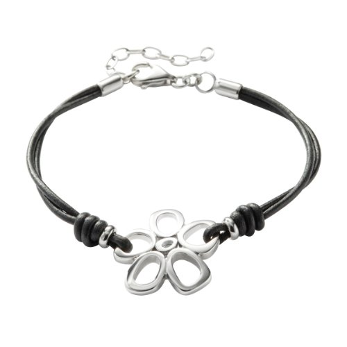 Lederarmband damen schwarz  Fossil Damen-Armband Blume Leder Schwarz 16-19.5 cm JF84998040 ...