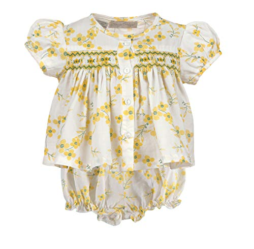Baby Girl Diaper Set Two Piece Shirt and Bloomers with Yellow Flowers and Hand Smocked Yoke