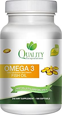 Omega 3 Fish Oil - Triple Strength - 1,500 Mg Omega 3 Fatty Acids - 600 Mg DHA 800 Mg EPA - No Fishy Aftertaste - Pharmaceutical Grade Fish Oil - (Available in 180 or 60 Softgels)