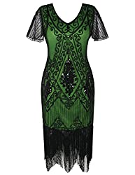 Black & Green 1920s Sequin Art Dress with Sleeve