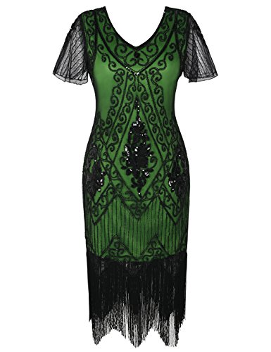 PrettyGuide Women's 1920s Dress Art Deco Cocktail Dress Short Sleeve XL Black Green