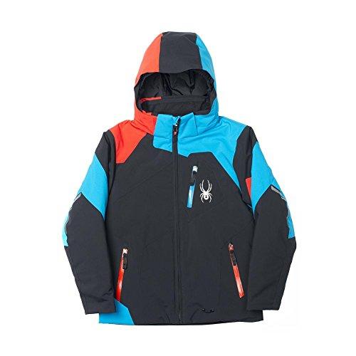 - Spyder Boys Leader Jacket (Big Kids), Black/Electric Blue/Volcano, 18