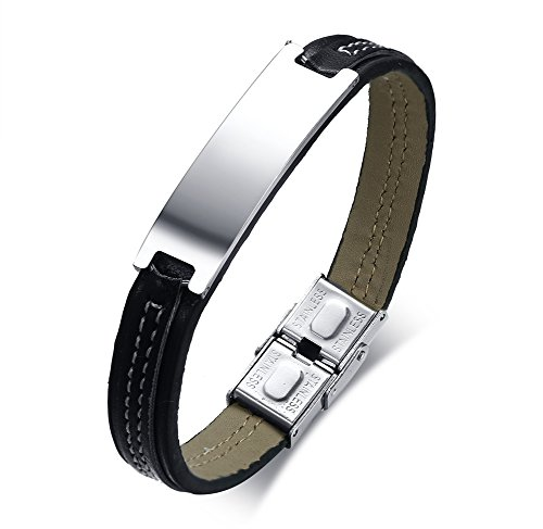 Personalized Engraving Stainless Steel ID Tag Genuine Leather ID Bracelets Band for Men Father (Here Metal)