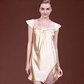 XBR Pijamas de seda, damas, verano de encaje, pijamas, ropa de dormir
