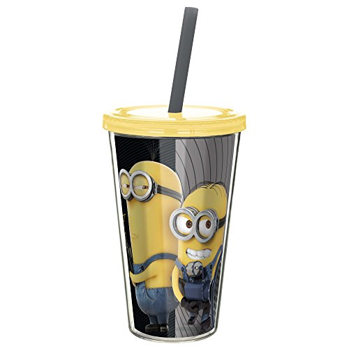 Zak! Designs Insulated Tumbler, Despicable Me 3 Minions, Screw-on Lid with Straw, BPA-free and Break-resistant, 17 oz