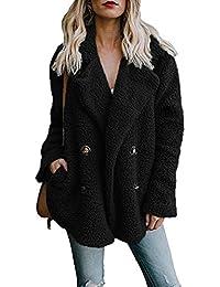 Women's Winter Warm Open Front Fleece Fluffy Jacket Coat Outwear with Pockets