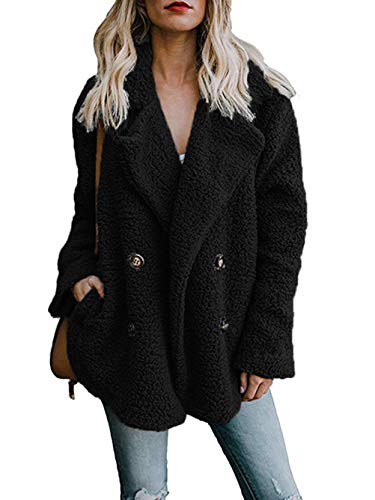Famulily Women's Winter Warm Oversized Fleece Fuzzy Sherpa Coat with Pockets Fluffy Jacket Cardigan Outwear Black X-Large (Button Jacket Fur Front)
