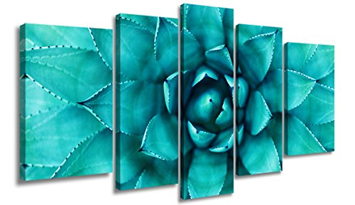 SUNFROWER Modern Wall Decoration Art Style-Large Simple Beautiful Blue Green Flowers Plant Flowers Pictures, Canvas Printing Art Stretched by Wooden Frame Ready to Hang 5 Panels Poster (Puzzle Wall Panel)
