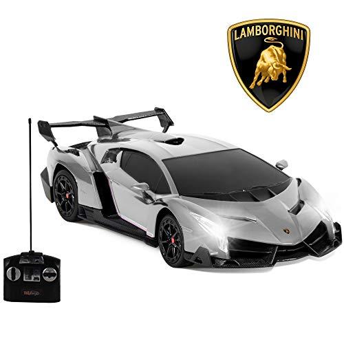Wing Front Ferrari - Haktoys Licensed Lamborghini Veneno Roadster 1:14 Scale RC Sports Car Realistic Car Sound & Detailed Design | Head/Rear Lights | Slide-Up/Scissor Doors|Battery Operated & Pre-Assembled Dark Silver