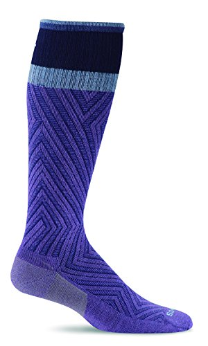 Sockwell Women's Labyrinth Graduated Compression Socks, Plum, Medium/Large