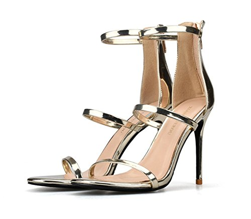 35 44 Stiletto High Size There Peep Shoes Heel Party Evening Size Sandals ZPL gold Large Prom Ladies Strappy Womens Barely Toe UwAxqAH5p