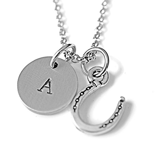 (Antique Silver Plated Pewter Horseshoe Necklace, personalized with hand stamped stainless steel initial charm on 24