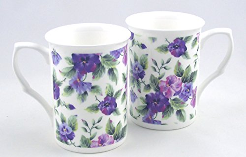 Fine English Bone China Mugs - Set of Two - Viola or Pansy Chintz - Adderley China of England