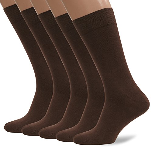 5 Pack Men`s Cotton Dress Sock (Medium, Brown)
