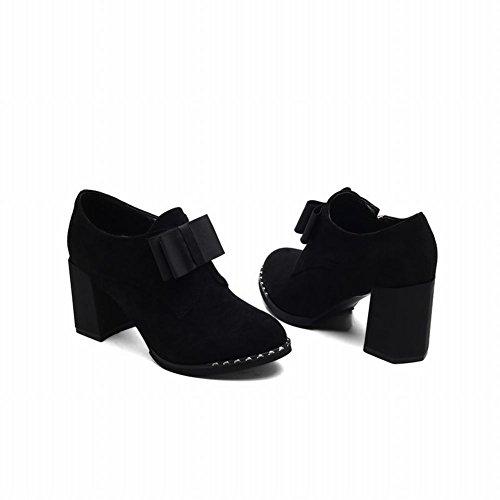 Charm Foot Mujeres Western Zipper Chunky High Heel Bows Botines Negro