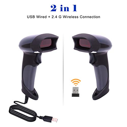 Wireless Handheld Barcode Scanner BEVA 2-in-1 Wired Bar Code Reader 2.4GHz Wireless & USB 2.0 Wired Handheld Bar Code Scanner 1D Laser Barcode Reader for POS PC Laptop and Computer by heying (Image #1)