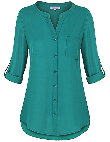 Misswor Chiffon Tops for Women, Ladies Casual Clothes Banded Collar V Neck Rolled Up Half Sleeve Tunic Top Button Down Round Hem Sleeky Tunic Blouse Blackish Green M