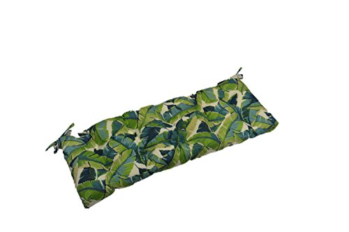 Resort Spa Home Decor Kiwi Green Blue Bright Tropical Palm Leaf Print Indoor Outdoor Tufted Cushion for Bench, Swing, Glider – Choose Size 60 x 18