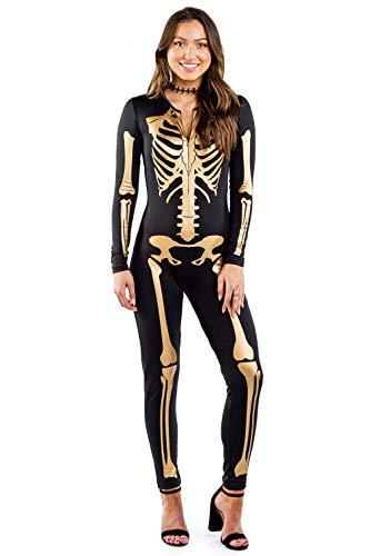 Women's Gold Skeleton Bodysuit - Golden Skeleton Halloween Costume: M