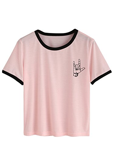 776a2e350 SheIn Women's Casual Cute Graphic Crew Neck Tops Short Sleeve Tees ...