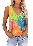 ETCYY Women's Tie-Dyed Sleeveless Workout Yoga Tank Tops Loose Cute Printed Running Sports Athletic T Shirts