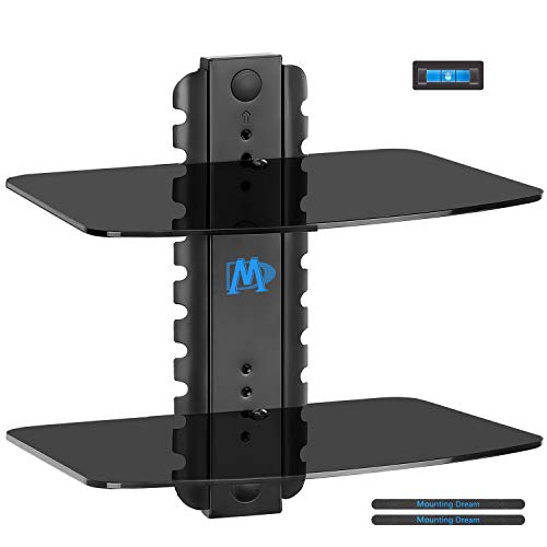Mounting Dream MD5200-2 Two Shelf DVD DVR VCR Wall Mount Bracket Floating Component Shelf with Strengthened Tempered Glass, 22 lbs per Shelf, Including Bubble Level and Cable Ties ()