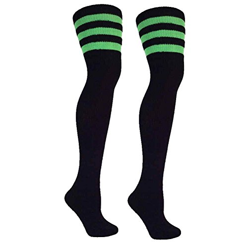 Thigh High Socks with Stripes | Over the Knee Socks For Costumes | Made In - Green Stripes Black