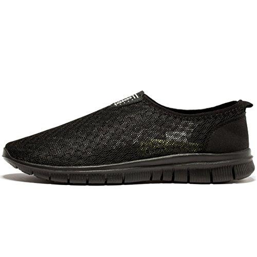 FENGDA Men's Fashion Casual Walking Athletic Beach Aqua Quick Drying Slip on Mesh Shoes All Black EU46
