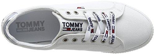 Casual Basse Donna 100 Jeans Denim Sneaker Bianco Scarpe da Ginnastica Tommy Hilfiger White fxTwZC1