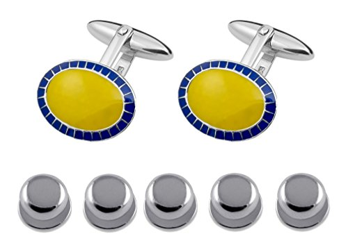 Yellow Dress Cufflinks amp; Enamelled Set Studs Blue Sterling Gift Shirt Silver Oval Rqfw84t