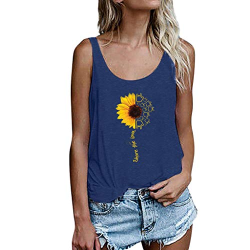 ✔ Hypothesis_X ☎ Women's Summer T Shirt Sunflower Printing Vest Sleeveless Loose Crop Tops Casual Tank Blouse Blue]()