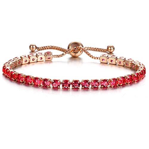 Zcxaa Stylish Shiny Rhinestone Bracelets Push-Pull Design Gold Single Row Full Jewelry Gorgeous Simple Bracelet(GBF06-04)