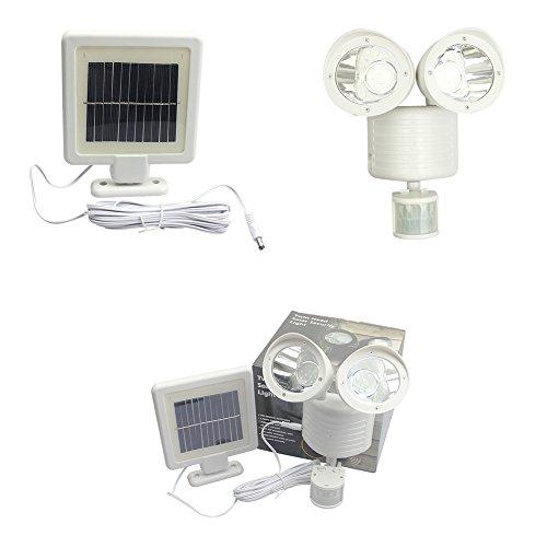 Zehui Outdoor Waterproof Wall LED Lamp Double Spotlights Solar Garden Light White by Zehui