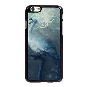 J8D27 pintura del pavo real Funda E6Z8YH iPhone 6 4.7 pulgadas funda caja del teléfono celular cubren DB9UKR9DT negro