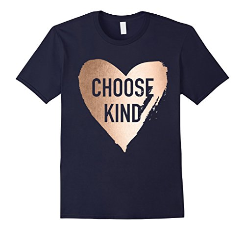 Mens Choose Kind Anti Bullying Rose Gold T-Shirt Large - Gold Rose And Navy