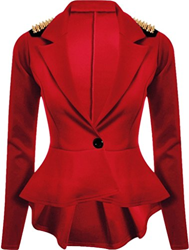 Frill Button (Rimi Hanger Womens Spikes Studded Crop Peplum Frill Button Halloween Blazer Jacket Coat Red US 6 (UK 10))