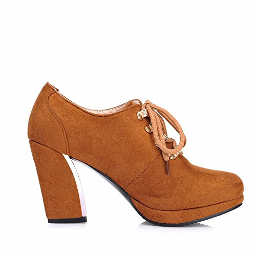 Carol Shoes Women's Western Cover High Heel Ankle Court Shoes Dark Yellow OMok11Mz